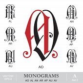 Vintage Monograms AO AL AN AR AP AU AV