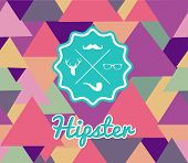 Trendy Retro Hipsters Label Icons Seamless Pattern.