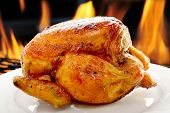 image of charcoal  - Grilled chicken on white plate - JPG