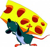 The mouse is on his back a piece of cheese