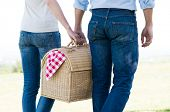 pic of nic  - Young Couple Walking Holding Picnic Basket Together - JPG