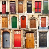 Collage Of Doors From Bruges, Belgium