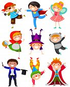 stock photo of clowns  - set of cartoon children wearing different costumes - JPG