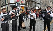 EDINBURGH- AUGUST 10: Members of  i Bugiardini publicize their show Shhhhh - An Improvised Silent Movie during Edinburgh Fringe Festival on August 10, 2013 in Edinburgh, Scotland