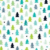 Seamless scandinavian forest christmas tree illustration background pattern in vector
