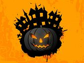 Happy Halloween poster, banner or flyer with scary pumpkin and haunted house on grungy yellow backgr