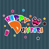 Colorful text Happy Dussehra on abstract background for Indian festival.