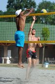 KAPOSVAR, HUNGARY - AUGUST 4: Leonel Munder (L) in action at a ROAK Viragfurdo Kupa beach volleyball