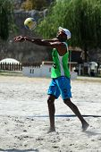 KAPOSVAR, HUNGARY - AUGUST 4: Leonel Munder in action at a ROAK Viragfurdo Kupa beach volleyball com