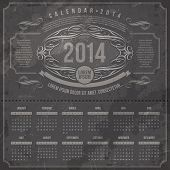Vector template design - Ornate vintage calendar of 2014 on a grunge black background