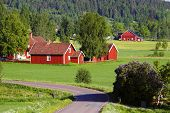 old red farms in rural landscape set in sweden