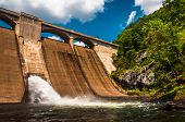stock photo of dam  - Prettyboy Dam along the Gunpowder River in Baltimore County Maryland - JPG