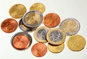 European Currency Euro Coins Money On White