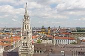 City of Munich with the tower of the new town hall