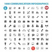 1000 communication infographics icons set, vector