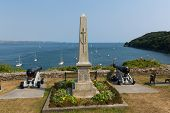 Memorial with Canons and View from Cawsand of Cornwall coast England UK