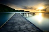 The Wooden Bridge With Sunrise At National Park Khao Leam Ya - Mu Ko Samet Rayong, Thailand
