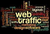 Web traffic concept in word tag cloud on black