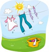 Illustration of the Sun Smiling Happily While Drying Up Clothes Hanging on a Clothesline
