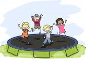 Doodle Illustration of Kids Playing with a Trampoline