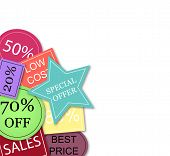 Background With Colorful Discount Tags Over White