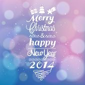 Beautiful Merry Christmas and Happy New Year card design with bokeh effect. Vintage vector out of fo