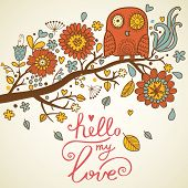 Bright floral card in vector. Funny owl in flowers �¢�?�? cute cartoon vector card in bright sum