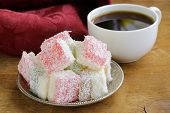 Turkish delight  (rahat lokum) dessert in coconut flakes