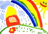 Home on meadow and rainbow. Child's drawing.
