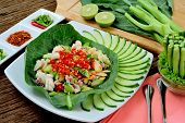 pic of kan  - Spicy salad with chinese kale  - JPG