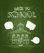 foto of social housing  - Education green chalkboard back to school text School house social media bubbles illustration - JPG