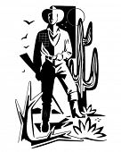 Desert Cowboy Motif - Retro Clip Art Illustration