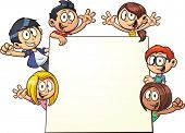 Cartoon kids holding a sign. Vector clip art illustration with simple gradients. All in a single lay
