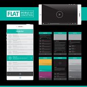 Flat Mobile Web UI Concept for mobile or tablet web applications