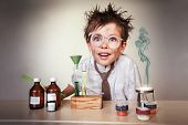stock photo of experiments  - Crazy scientist - JPG