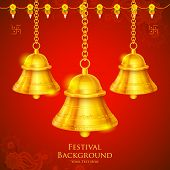 illustration of temple bell hanging on festival background
