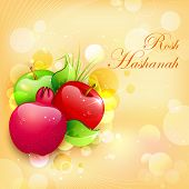 illustration of Rosh Hashanah background with pomegranate and apple