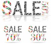 pic of fraction  - Various Sale discount made by fraction of colorful paper create by vector - JPG