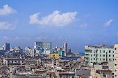 stock photo of malecon  - a view of havana center and the malecon cuba - JPG