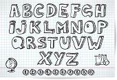 Doodle Font On Lined Sheet
