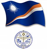 Marshall Islands Textured Wavy Flag Vector