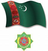 Turkmenistan Textured Wavy Flag Vector