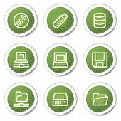 Drives and storage web icons, green stickers