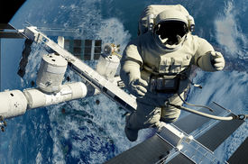 pic of spaceman  - The astronaut on a background of a planet   - JPG