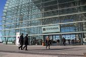VALENCIA, SPAIN - FEBRUARY 12, 2014: People entering the Feria Valencia Convention and Exhibition Ce