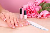 stock photo of french manicure  - Beautiful woman hands with french manicure and flowers on table on pink background - JPG