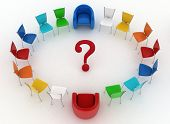 Two arm-chairs of chief and group of multicolored office chairs with question-mark in a center