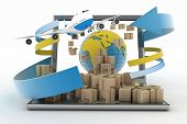 stock photo of dispenser  - Cardboard boxes around the globe on a laptop screen and airplane - JPG