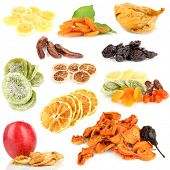 Collage of dried fruits isolated on white