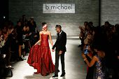 NEW YORK-FEB 12: A model walks the runway with B Michael at B Michael America fashion show during Me